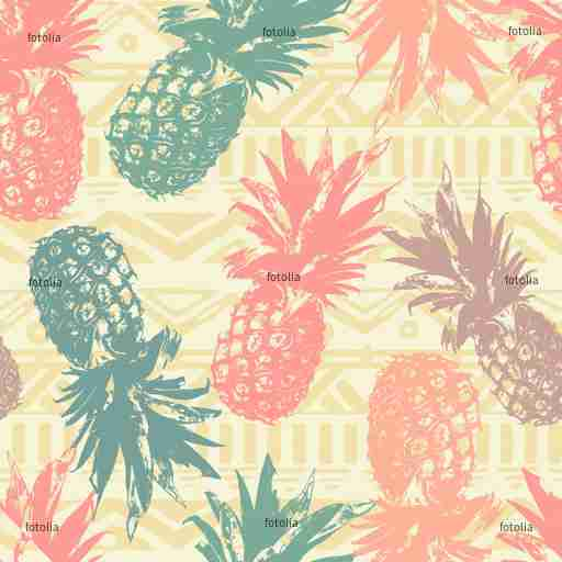 Zobacz obraz Seamless pattern with pineapple on tribal background in vector