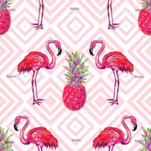 Zobacz obraz Seamless summer tropical pattern with flamingo and pineapple vector background. Perfect for wallpape