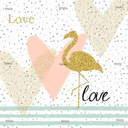 Zobacz obraz Creativity card with gold glitter flamingo and different hearts.
