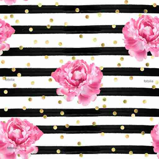 Zobacz obraz Abstract background - watercolor stripes - gold confetti and pink roses -  seamless pattern wallpape