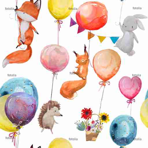 Zobacz obraz seamless pattern with animals with balloons