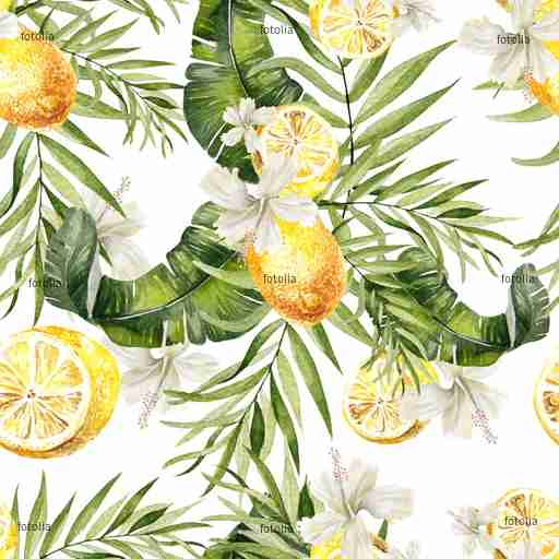 Zobacz obraz Beautiful watercolor seamless, tropical jungle floral pattern background with palm leaves, Hibiscus