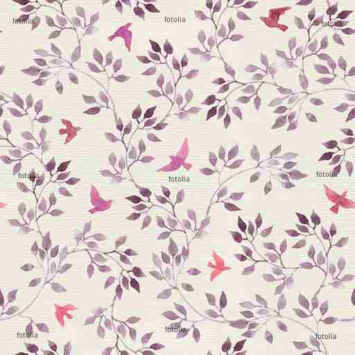 Zobacz obraz Seamless retro wallpaper with cute birds and ditsy hand painted leaves. Vintage watercolor