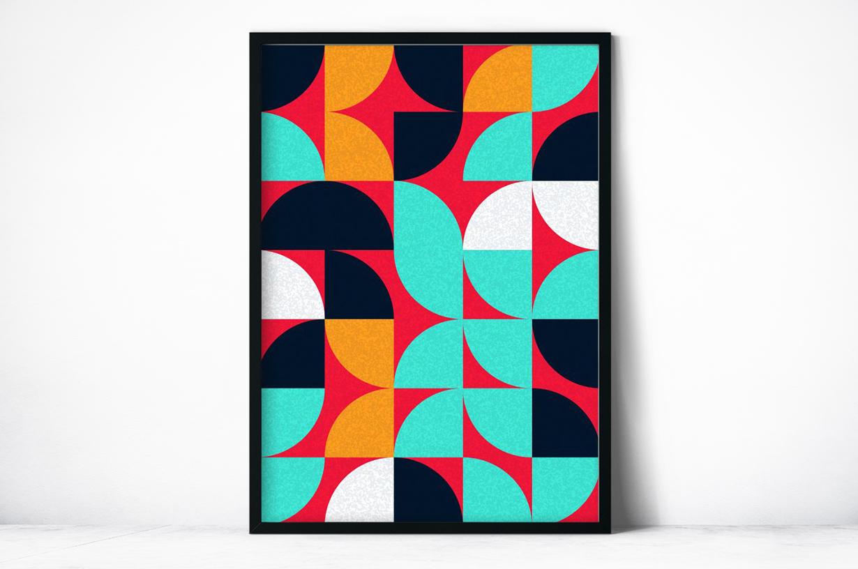 Plakat - Abstrakcyjny geometryczny wzór w czerwieni - fototapeta.shop