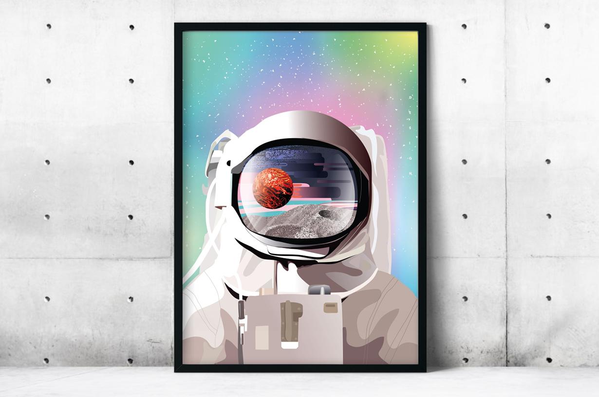 Plakat - Kosmonauta w kolorach - fototapeta.shop