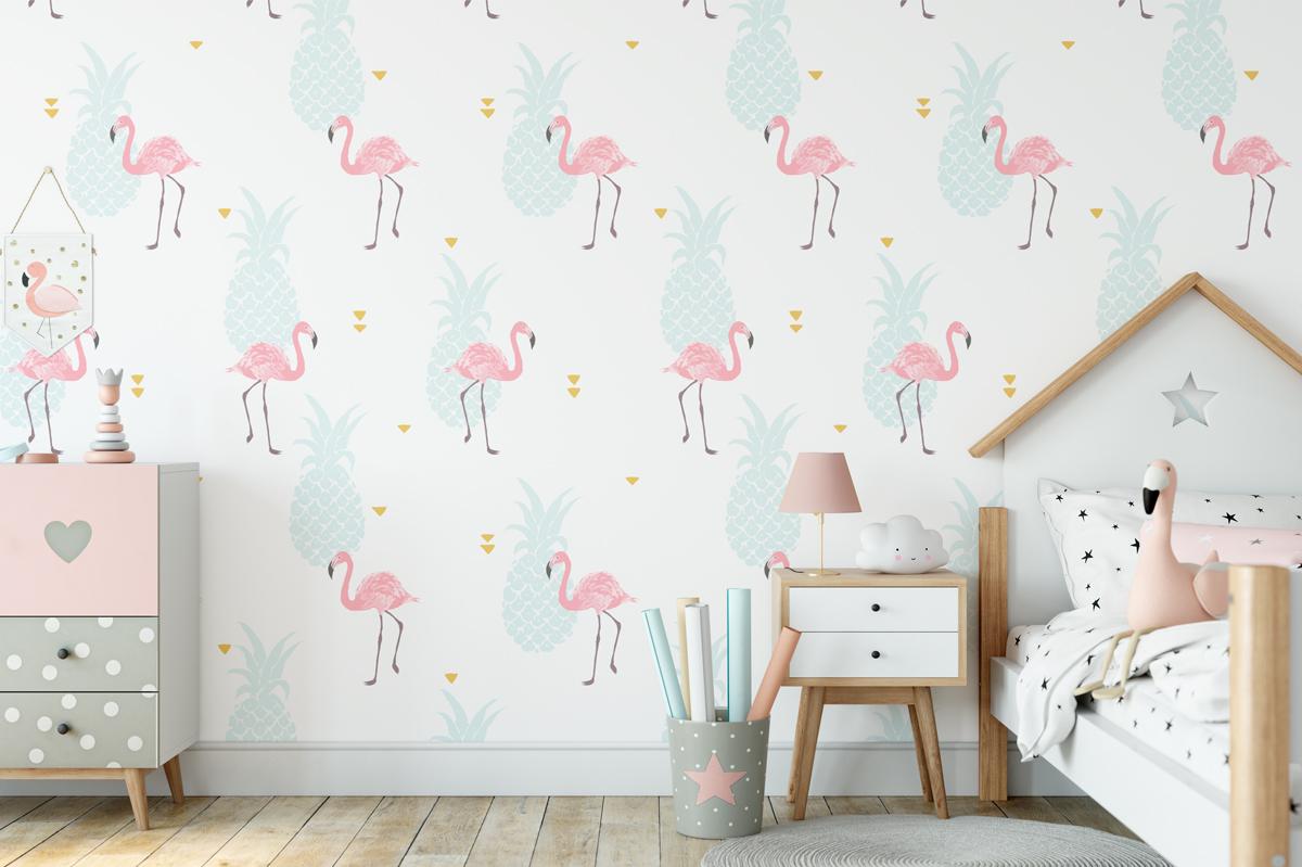 Tapeta - Ananasy i flamingi - fototapeta.shop