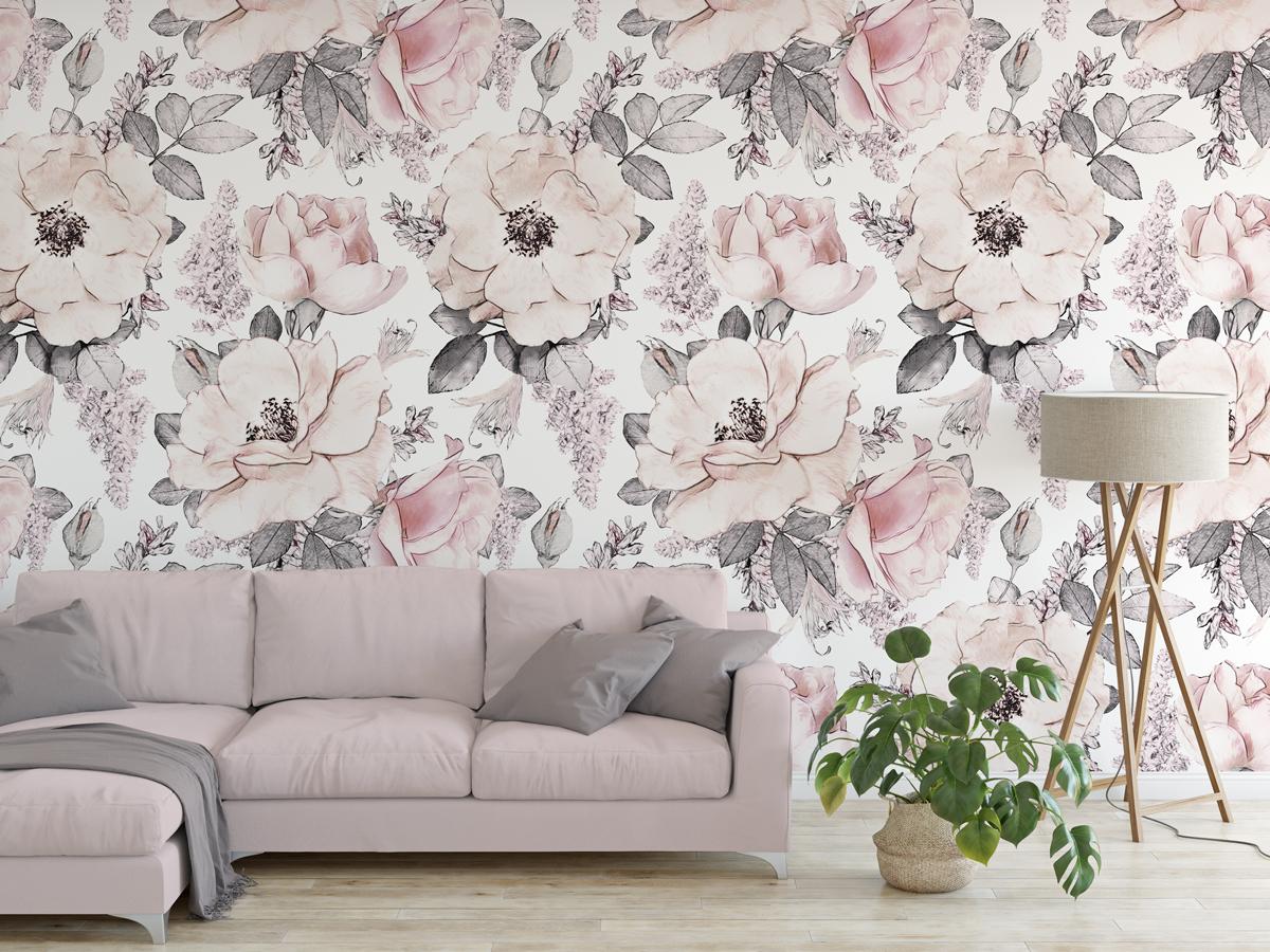 Tapeta - Kwiaty w odcieniach szaro-różowych - fototapeta.shop
