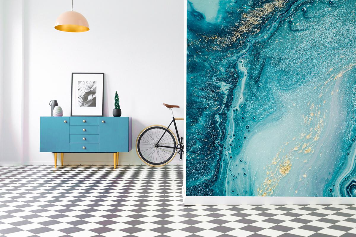 Fototapeta - Obraz w błękicie i złocie - fototapeta.shop