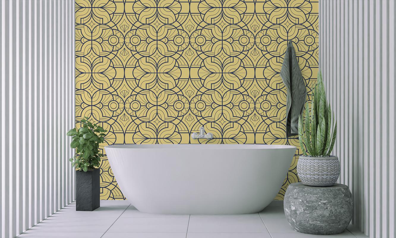 Tapeta - Wzór art deco w żółci - fototapeta.shop