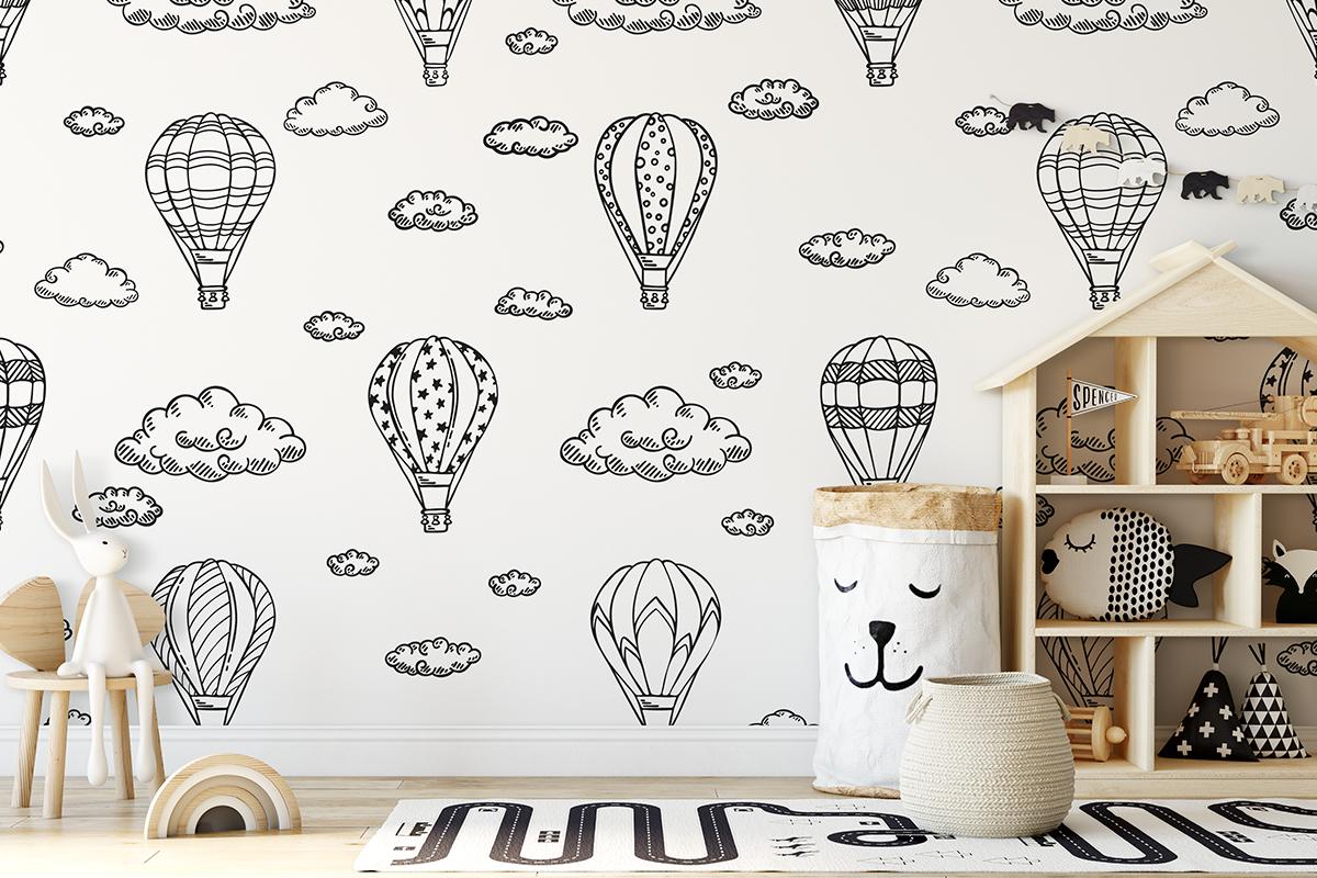 Tapeta - Czarno-białe balony - fototapeta.shop