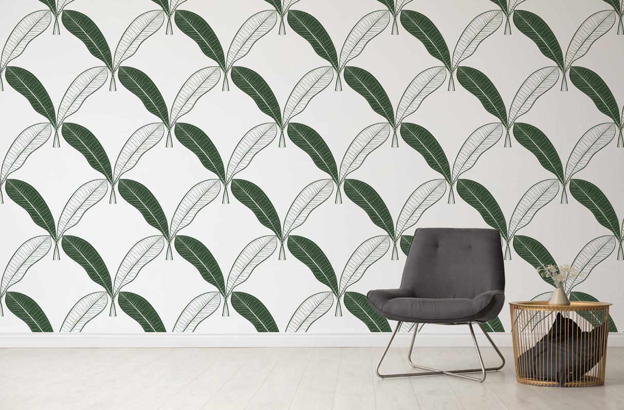 Tapeta - Zielone liście bananowca na białym tle - fototapeta.shop