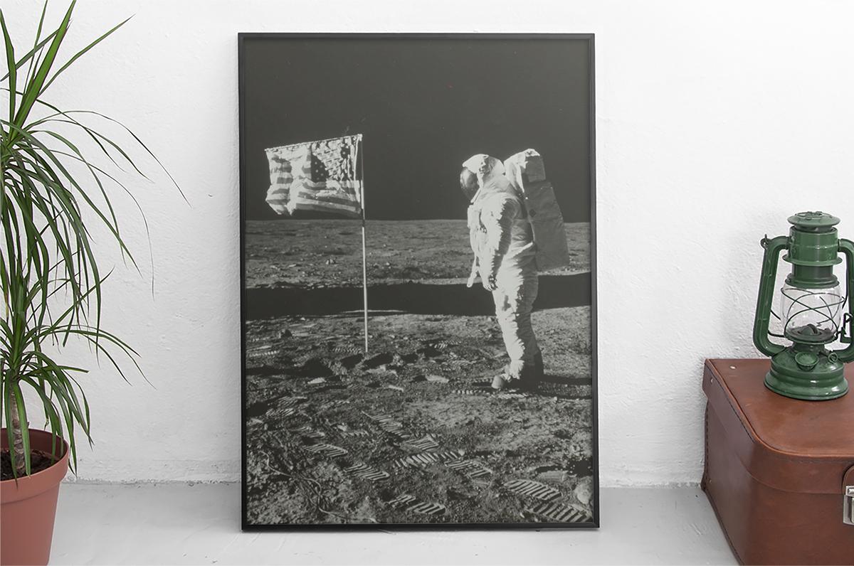 Plakat - Buzz Aldrin na księżycu - NASA - fototapeta.shop