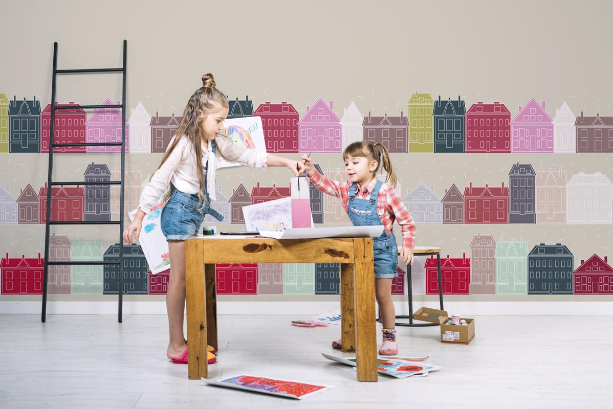 Tapeta - Kolorowe domki - fototapeta.shop