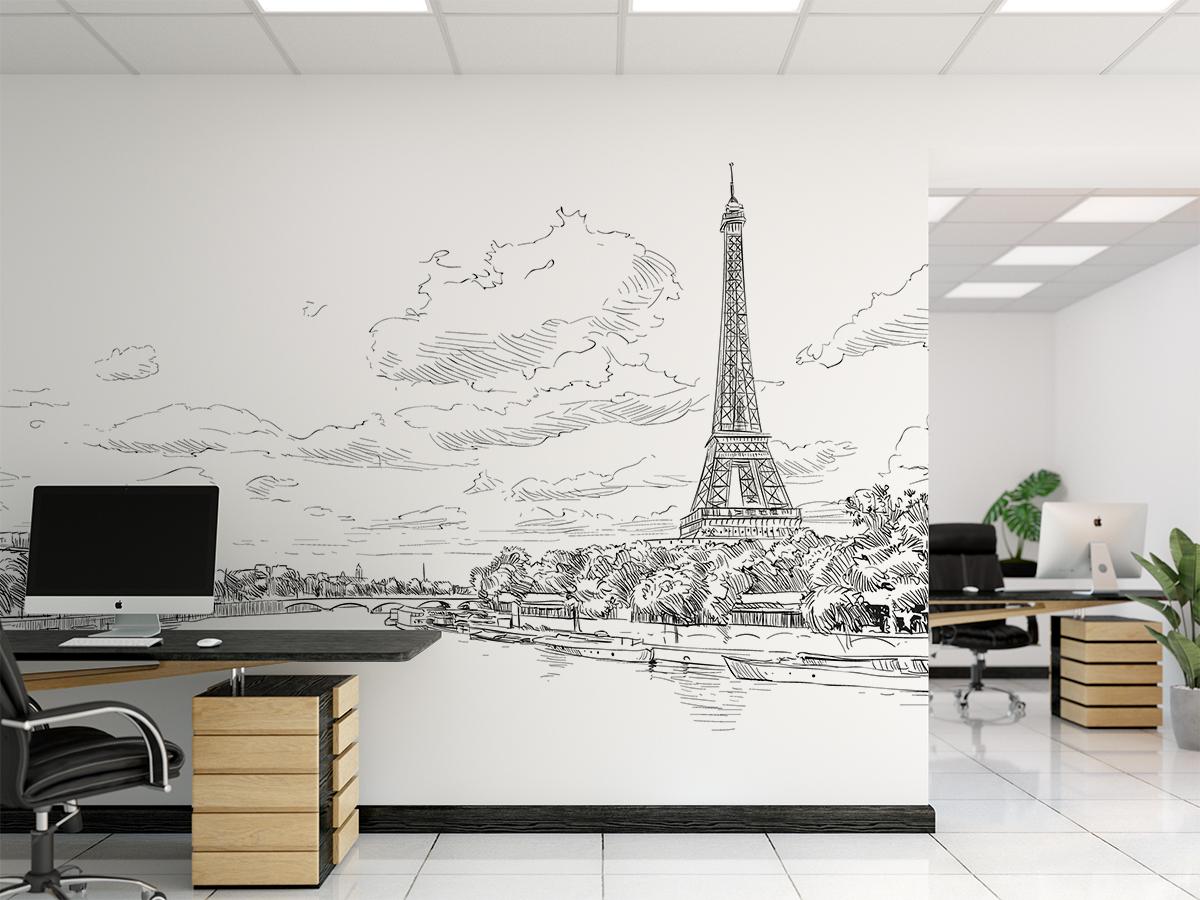 Fototapeta - Panorama Paryża - szkic - fototapeta.shop