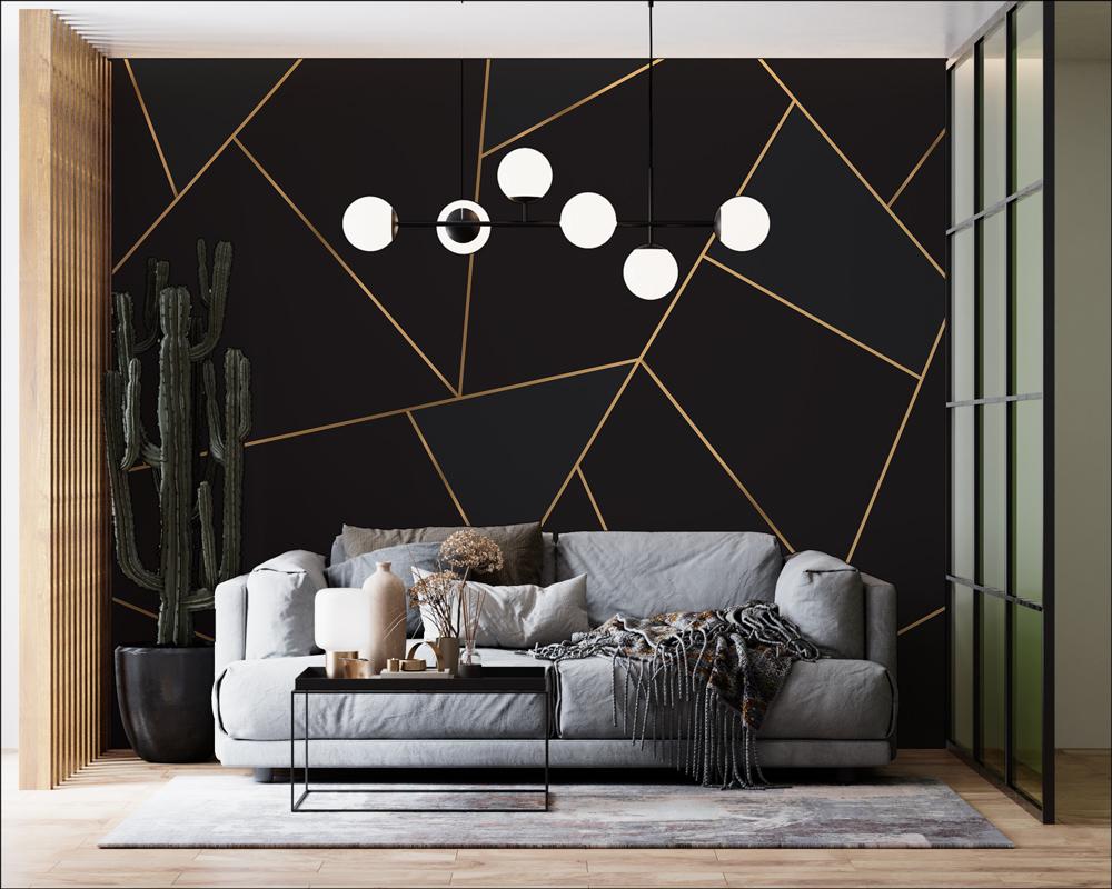 Fototapeta - Geometryczne złote linie - fototapeta.shop