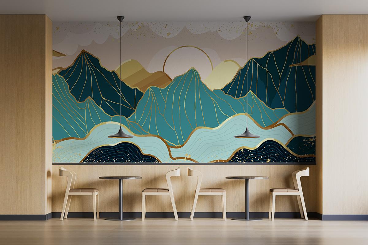 Fototapeta - Niebieskie góry ze złotym konturem - fototapeta.shop