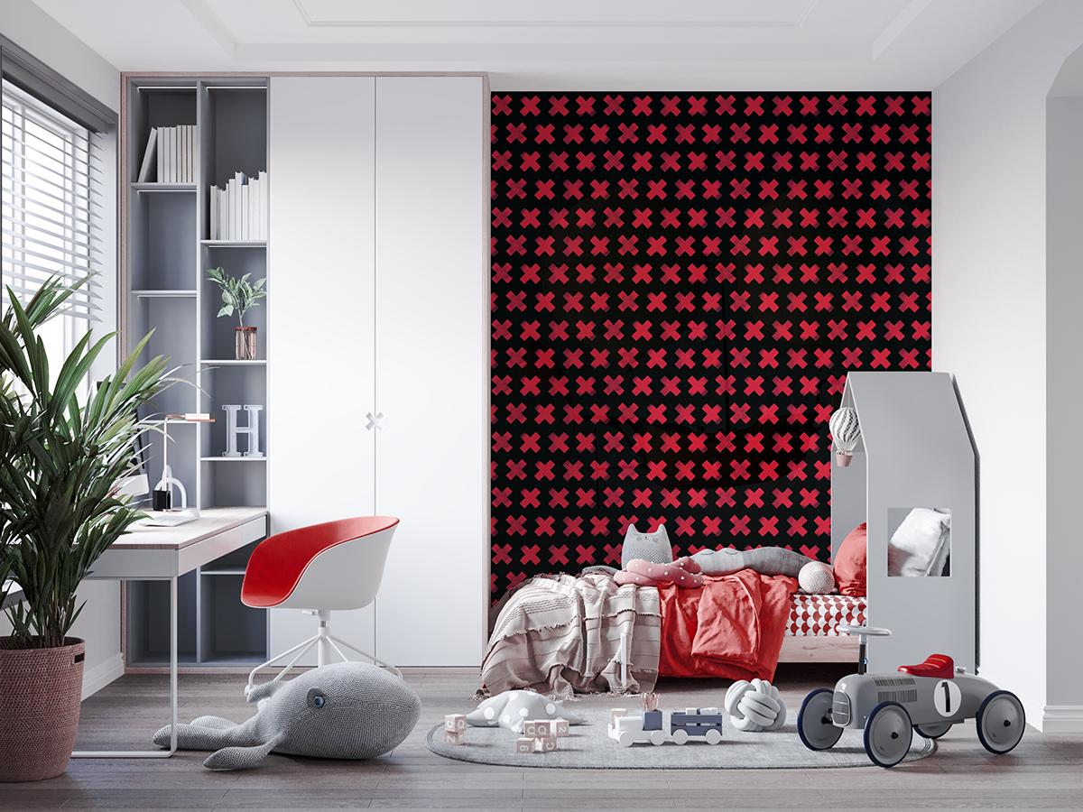 Tapeta - Czerwone krzyżyki - fototapeta.shop