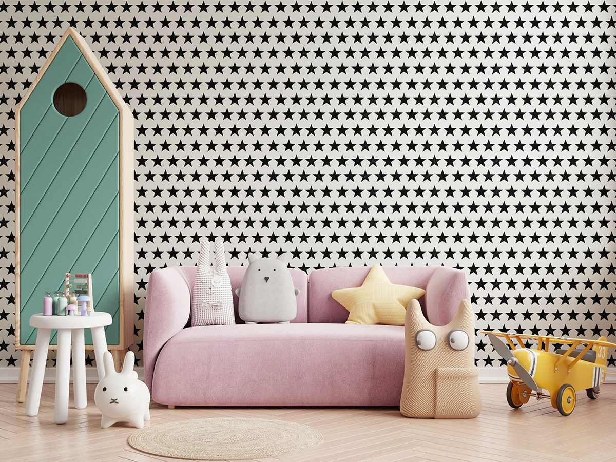 Tapeta - Gwieździsty wzór na białym tle - fototapeta.shop