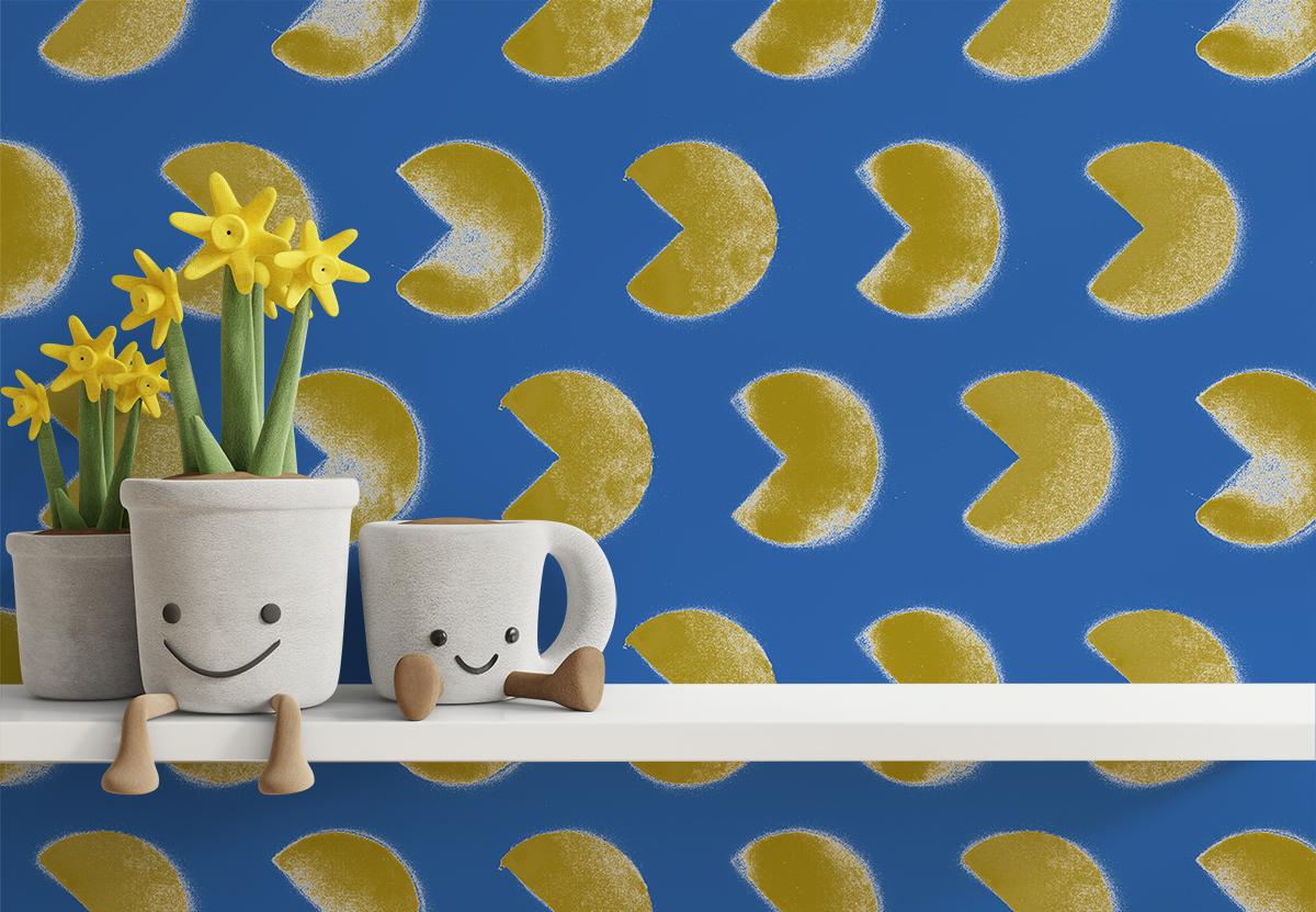 Tapeta - Pacman na niebieskim tle - fototapeta.shop
