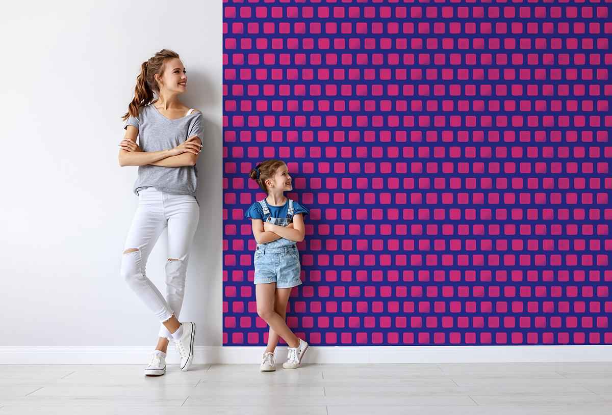 Tapeta - Różowe kwadraty na niebieskim tle - fototapeta.shop