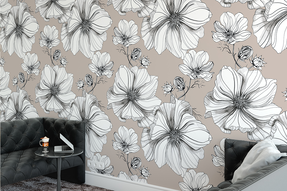 Tapeta - Szkicowane kwiaty - fototapeta.shop