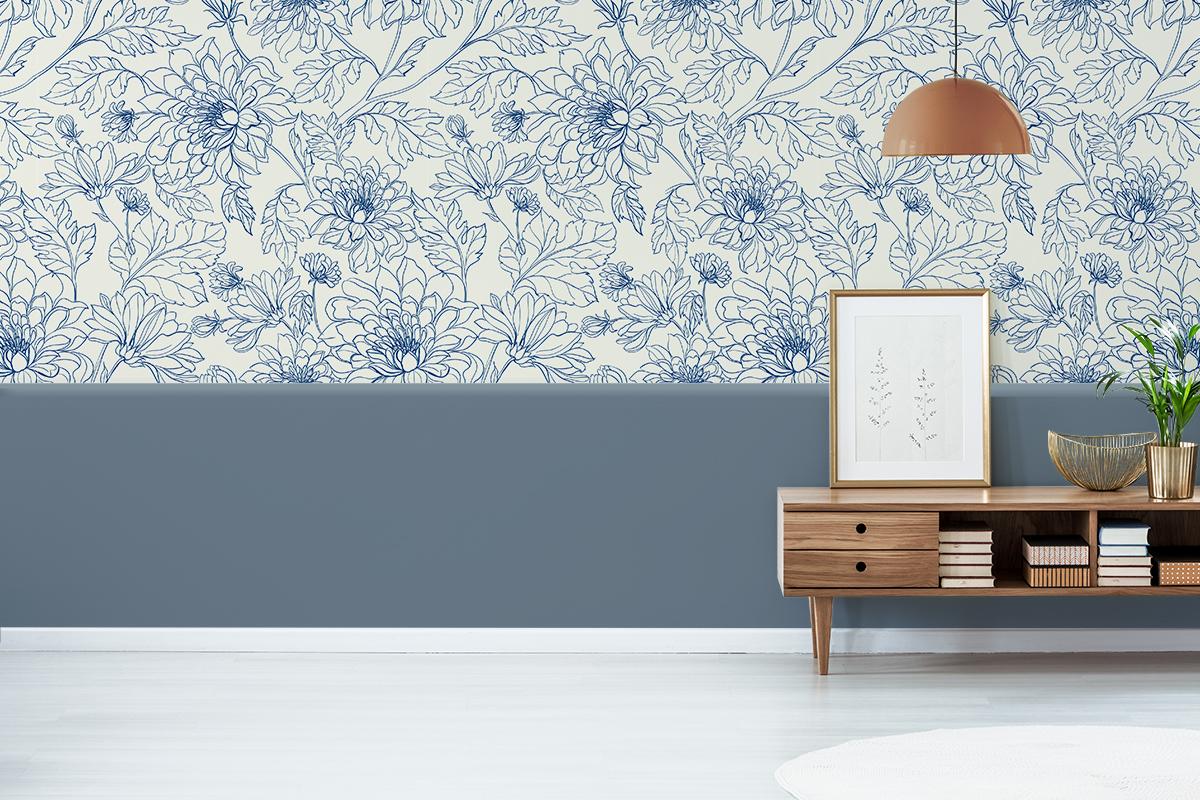 Tapeta - Kwiatowy niebieski szkic - fototapeta.shop