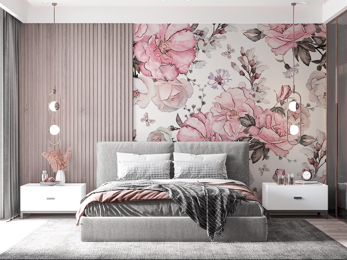 Tapeta - Bukiety różowych kwiatów - fototapeta.shop