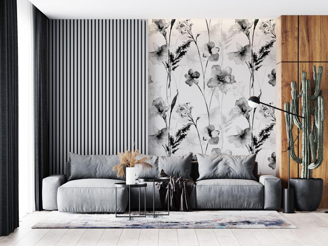 Tapeta - Czarno-białe trawy - fototapeta.shop