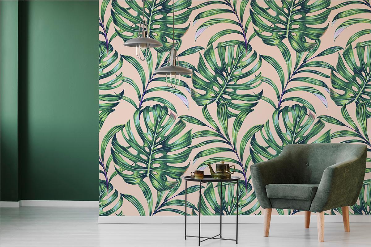 Tapeta - Zielone palmy na różowym tle - fototapeta.shop