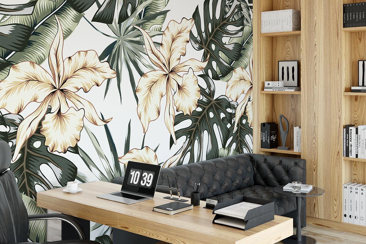 Tapeta - Orchidea na tle palm - fototapeta.shop