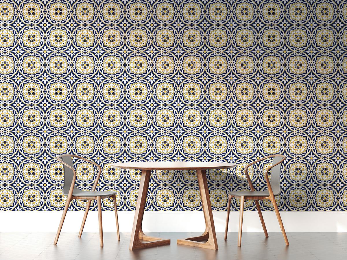 Tapeta - Żółto-niebieski ornament - fototapeta.shop