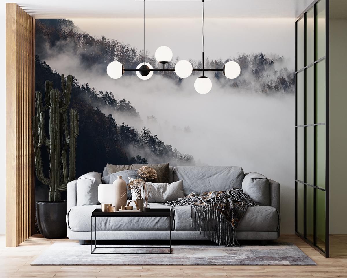 Fototapeta - Czarno-białe zbocze w chmurach - fototapeta.shop
