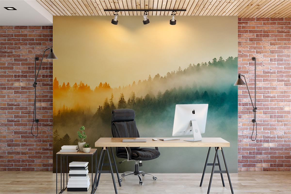 Fototapeta - Kolorowe góry we mgle - fototapeta.shop