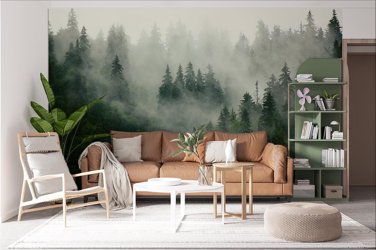 Fototapeta - Zielone świerki w chmurach - fototapeta.shop