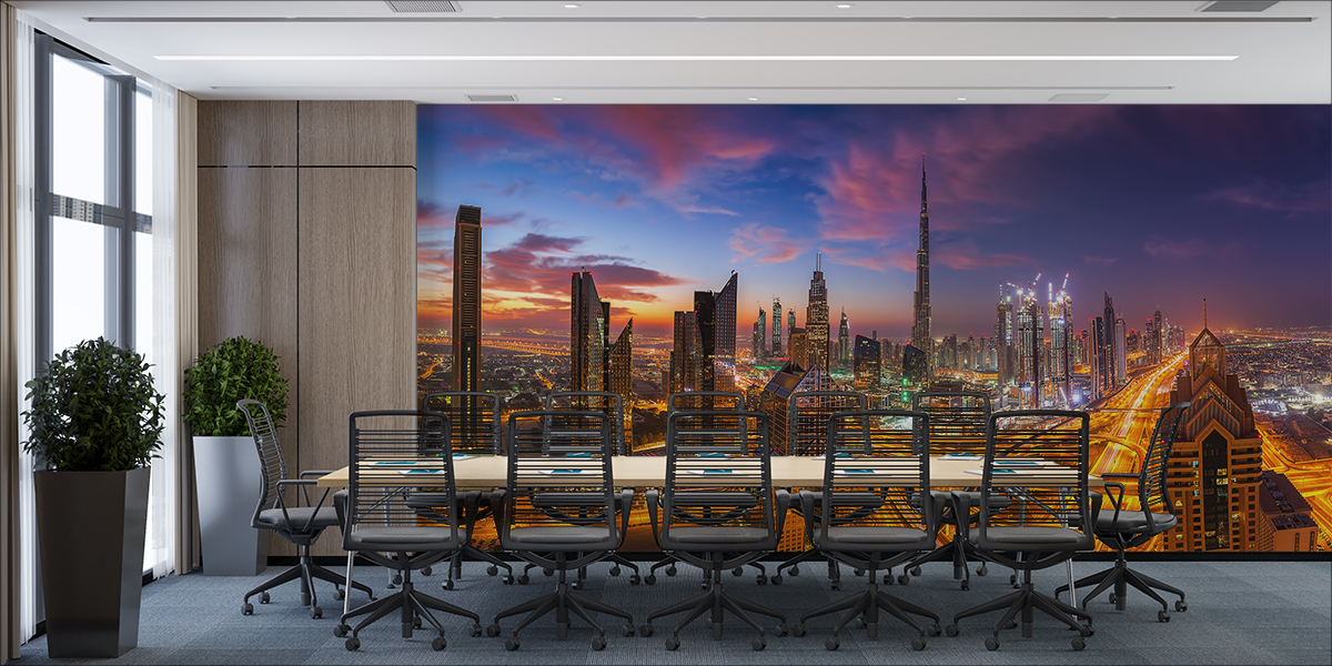 Fototapeta - Nocna panorama Dubaju - fototapeta.shop