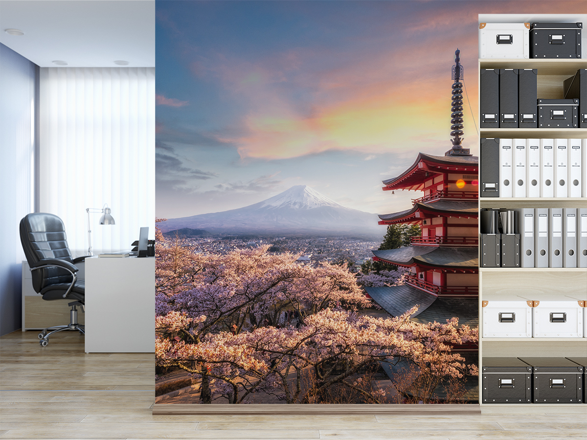 Fototapeta - Kwitnąca wiśnia na tle Fuji - fototapeta.shop