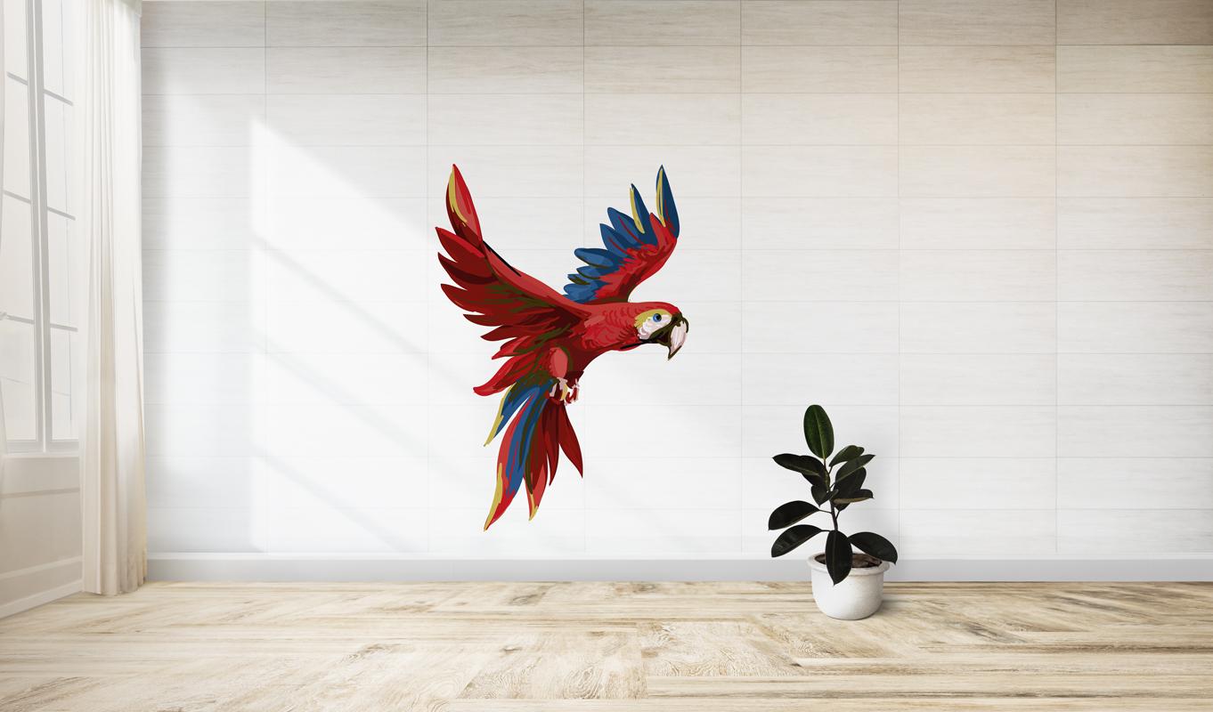 Naklejka - Czerwona papuga - fototapeta.shop