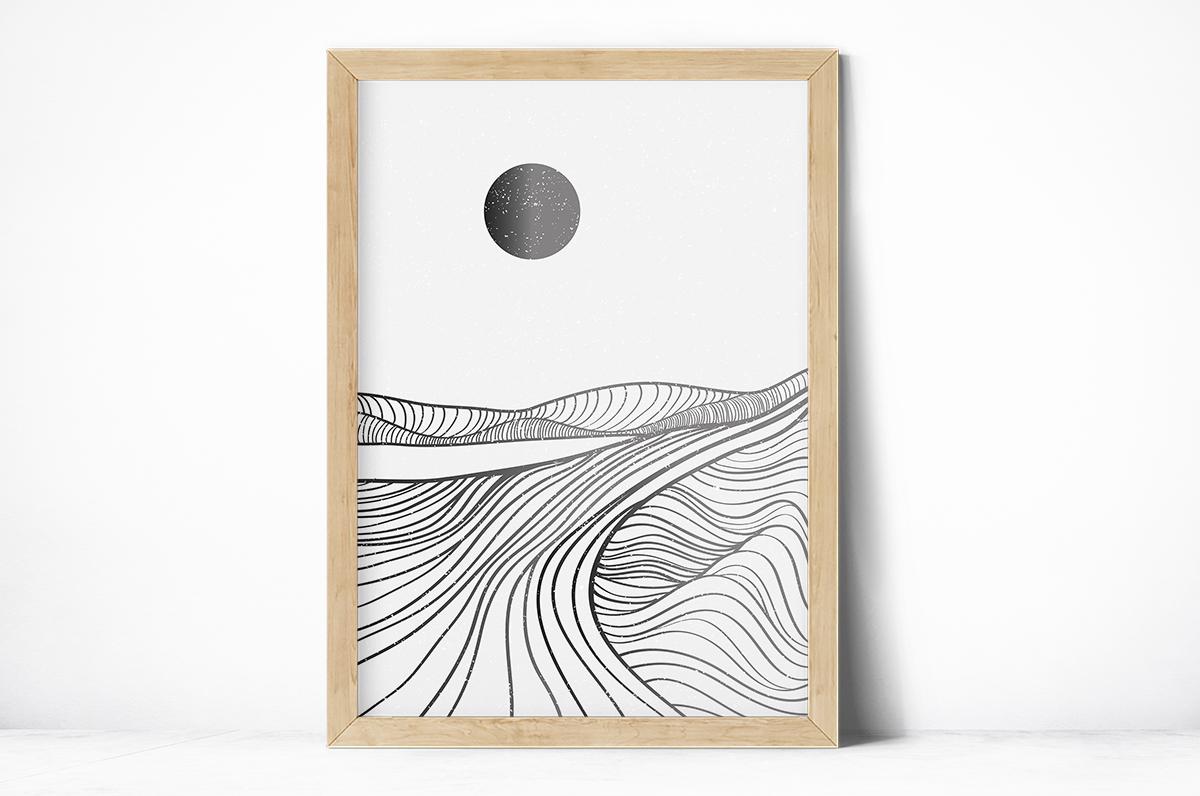 Plakat - Monochromatyczny księżyc i linie - fototapeta.shop