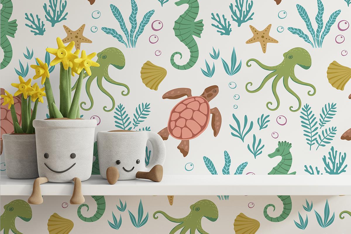 Tapeta - Kolorowe morskie zwierzaki - fototapeta.shop
