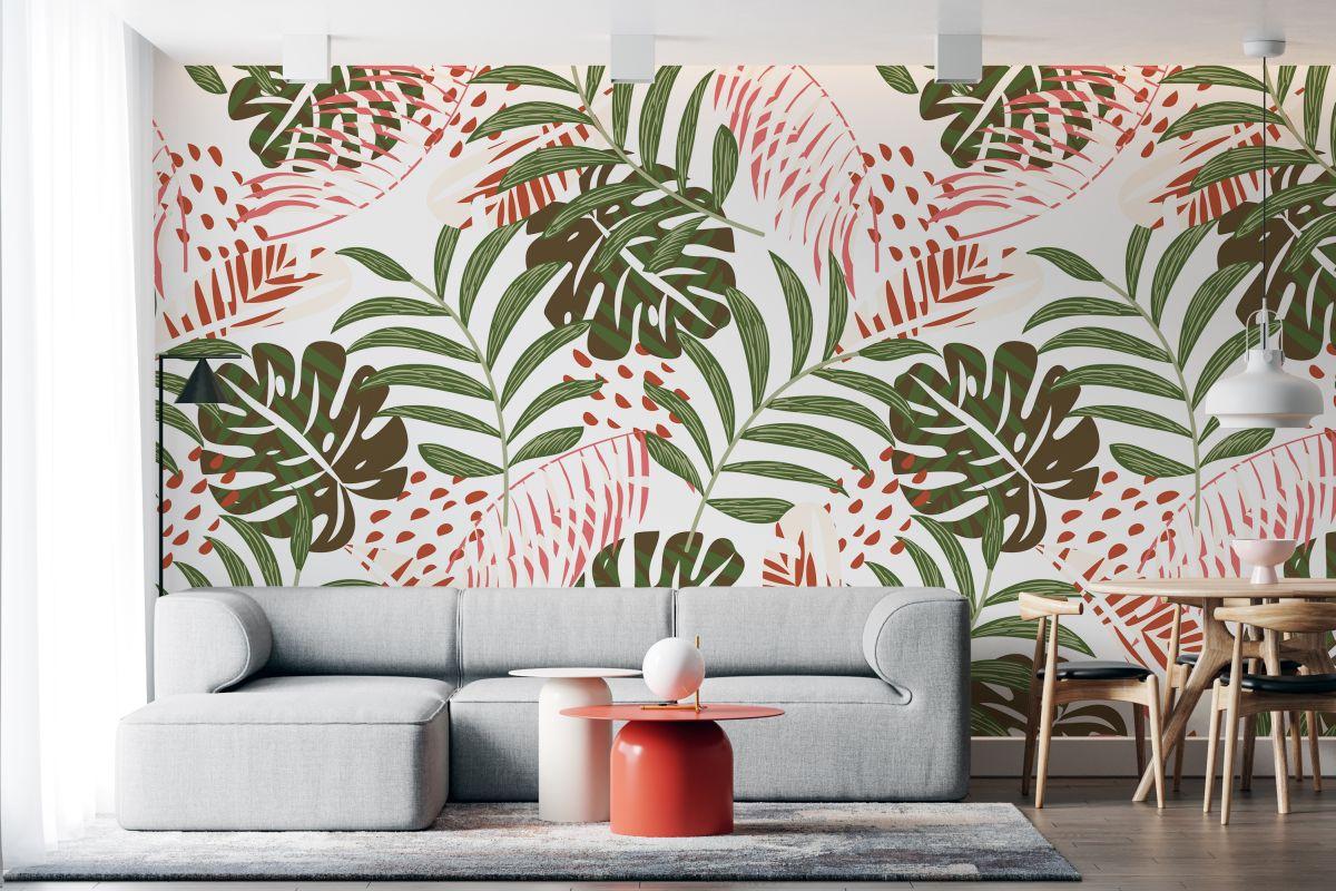 Tapeta - Zielono-czerwone palmy - fototapeta.shop