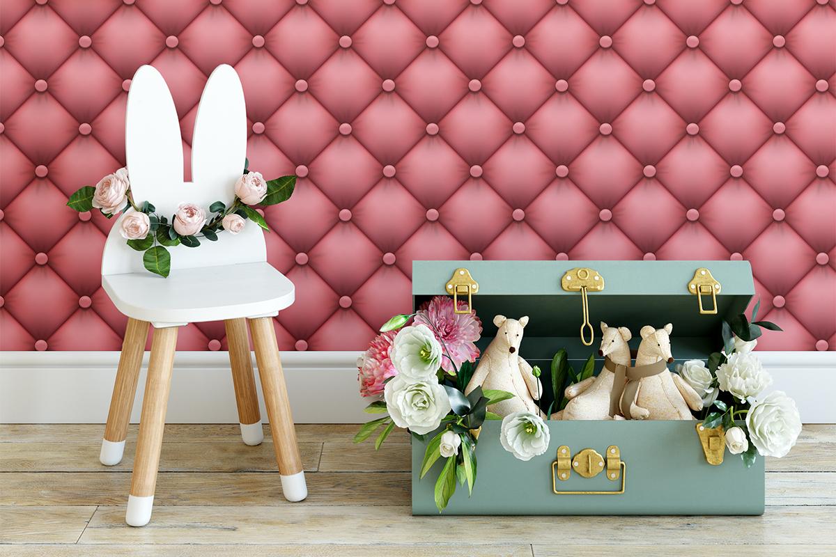 Tapeta - Pikowany, różowy materiał - fototapeta.shop