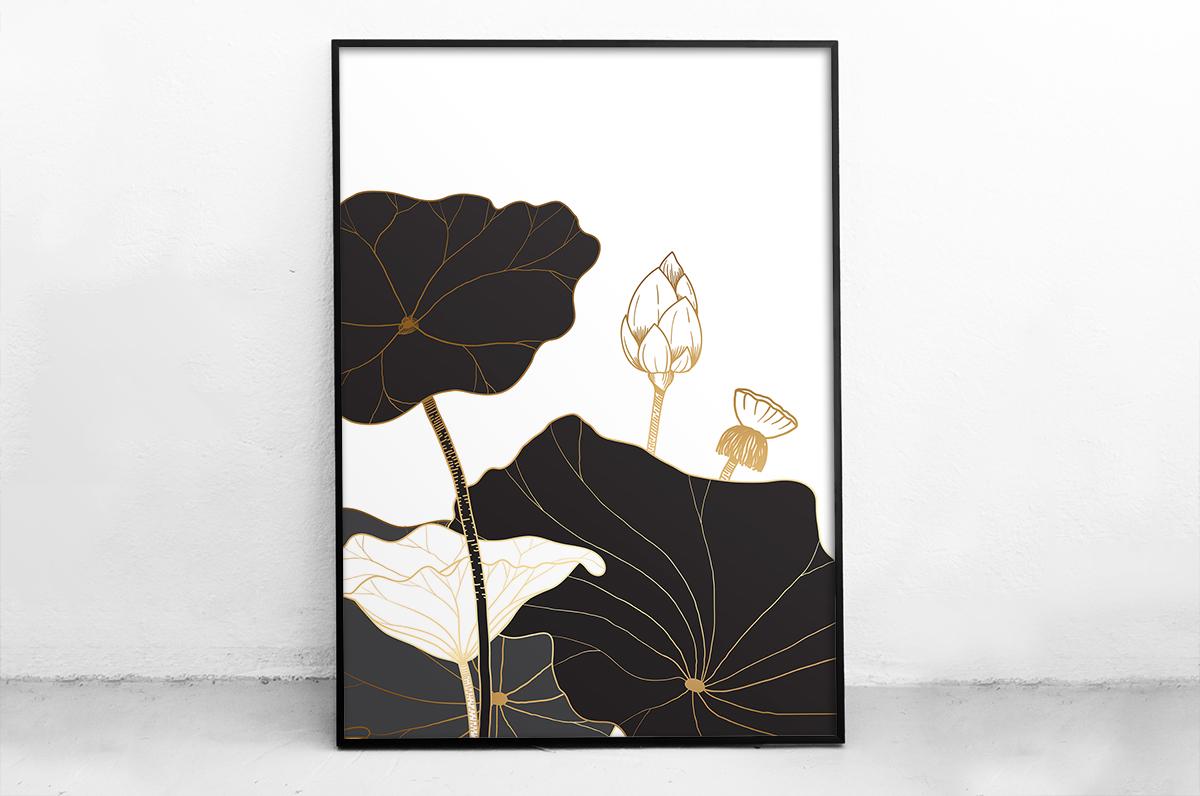 Plakat - Czarne kwiaty z delikatnym akcentem - fototapeta.shop
