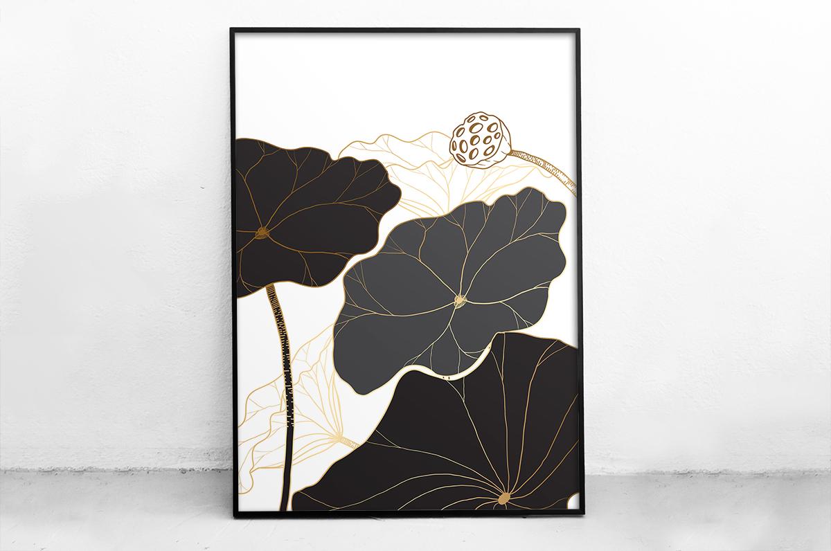 Plakat - Czarne, eleganckie kwiaty - fototapeta.shop