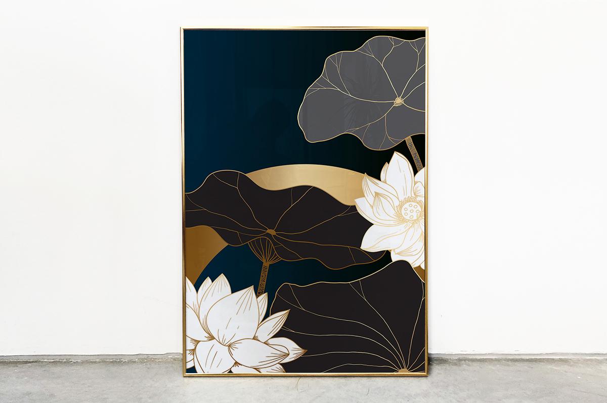 Plakat - Białe i czarne orchidee - fototapeta.shop