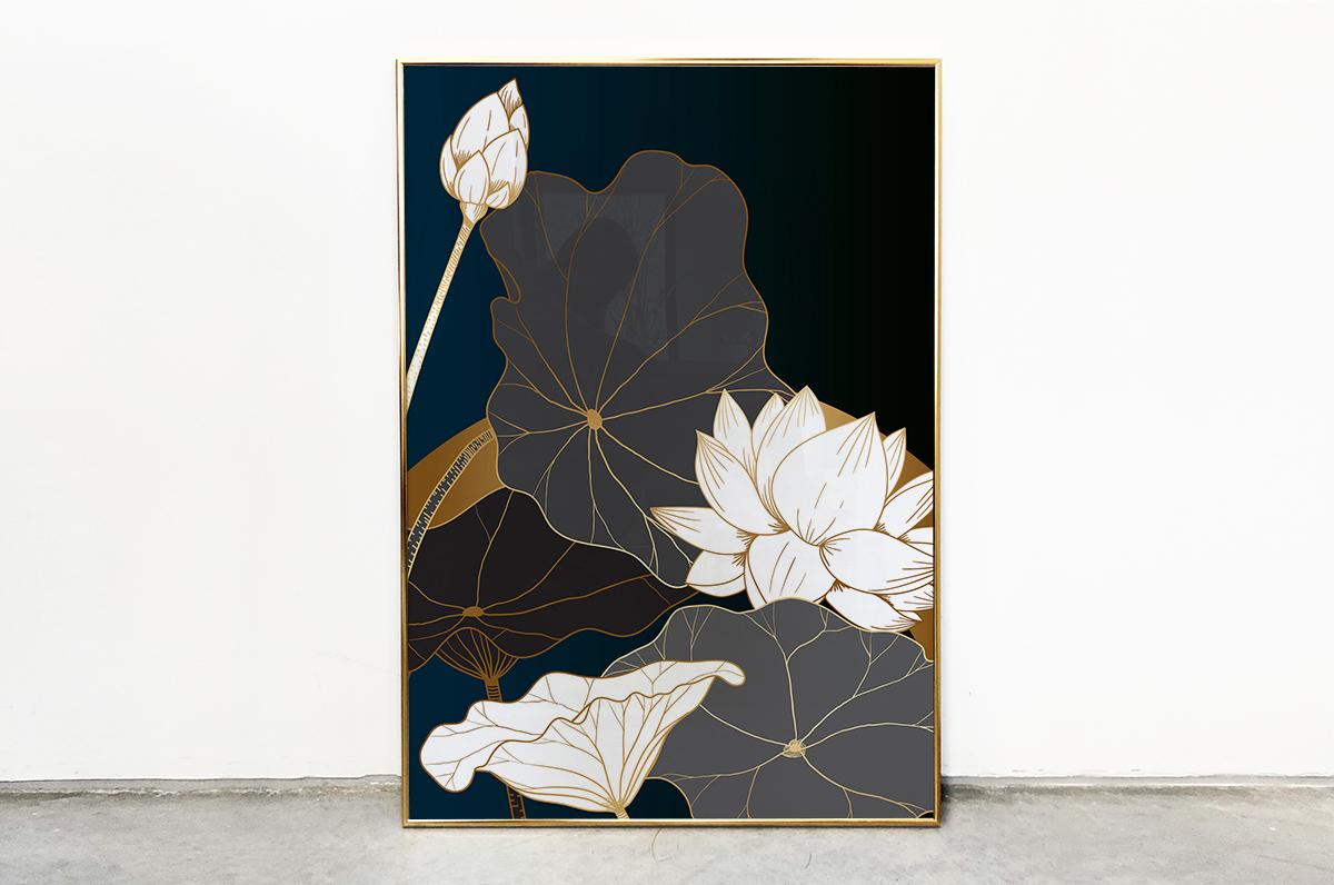 Plakat - Eleganckie kwiaty na czarnym tle - fototapeta.shop