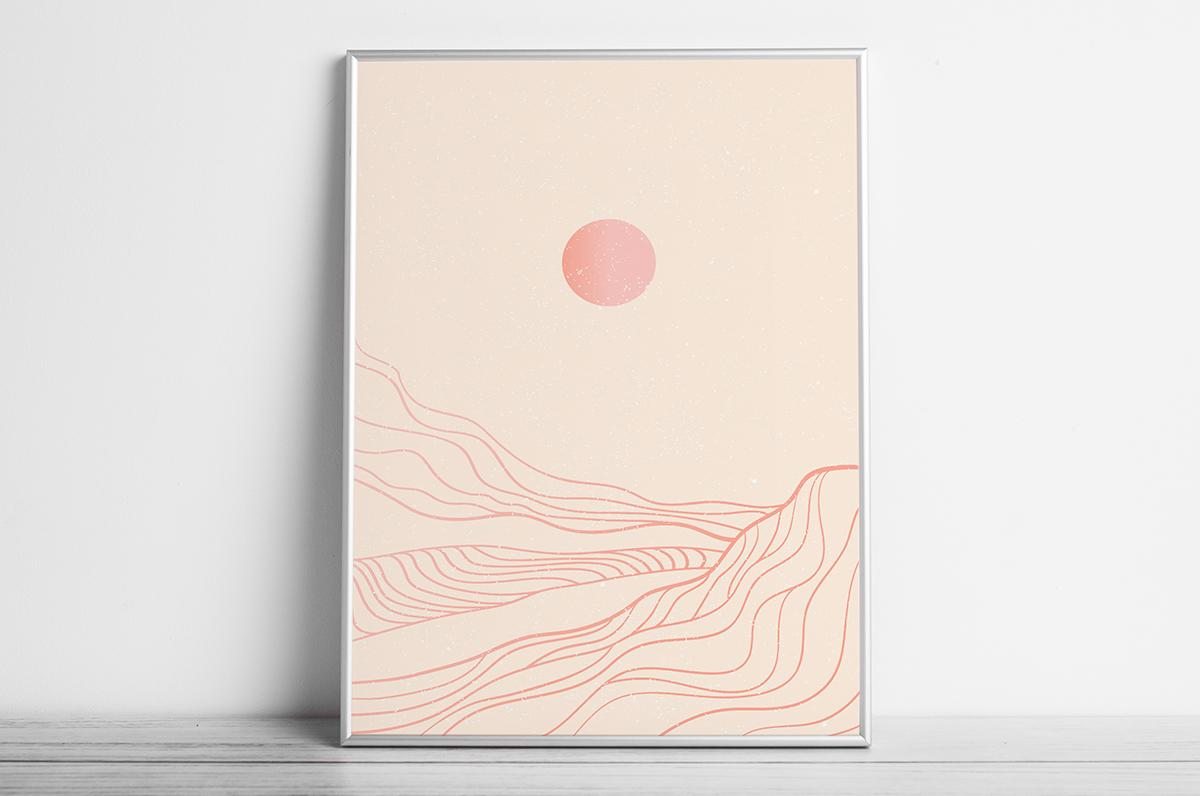 Plakat - Słońce i górskie kontury w różu - fototapeta.shop