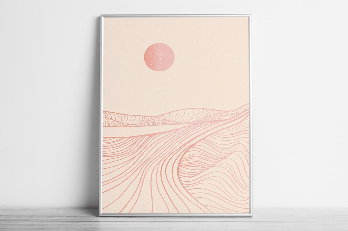 Plakat - Bladoróżowe kontury gór i słońce - fototapeta.shop