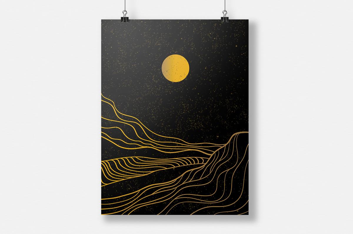 Plakat - Kontury gór i słońce - fototapeta.shop