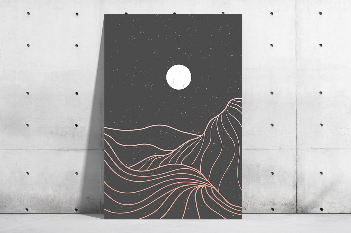 Plakat - Różowe kształty gór i księżyc - fototapeta.shop