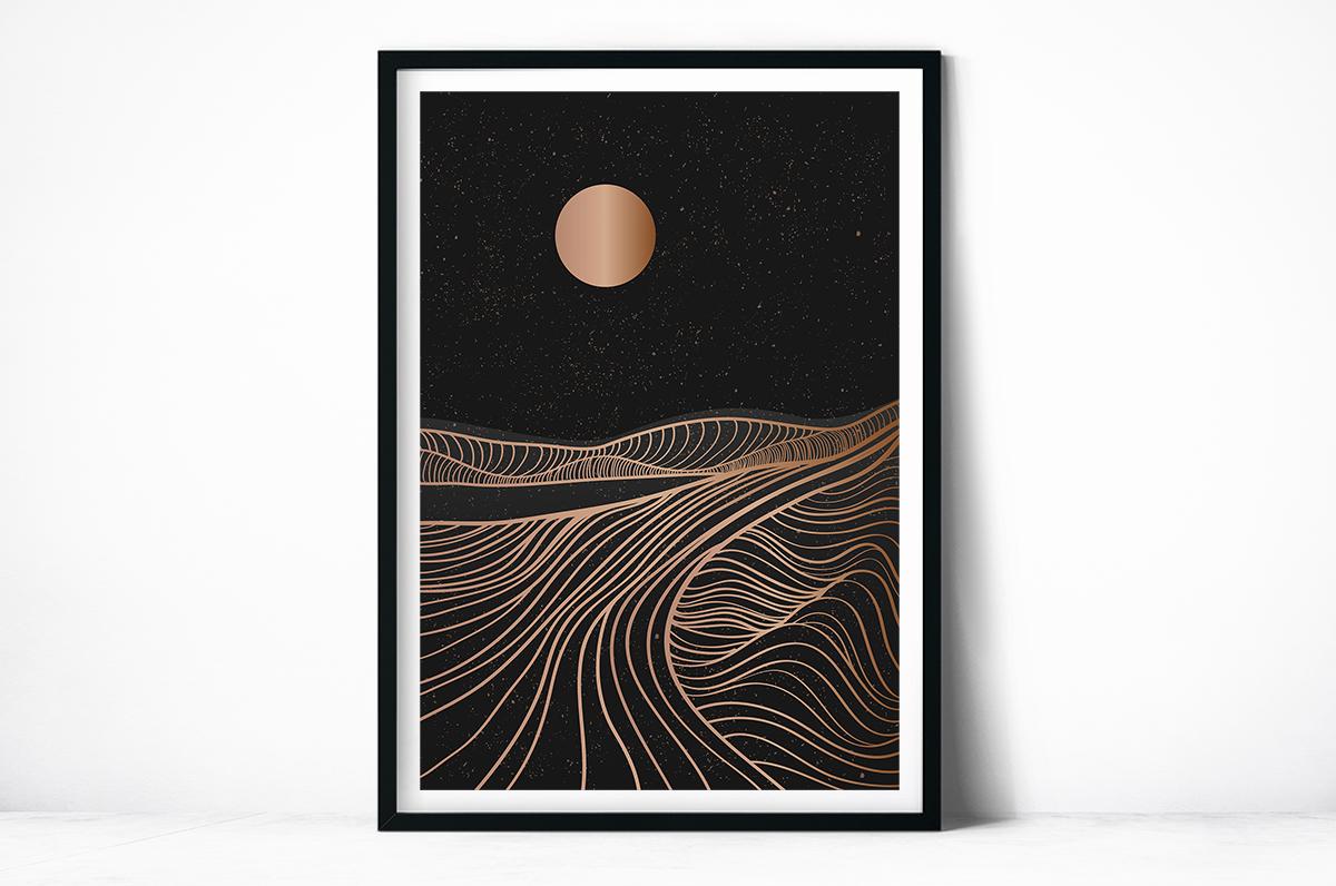 Plakat - Grafika ze słońcem i górami - fototapeta.shop